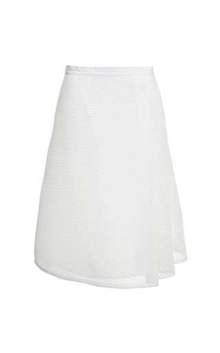 Medium sea white honeycomb mesh side pleat skirt