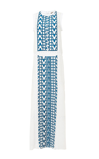Medium sea blue embroidered cotton voile maxi dress