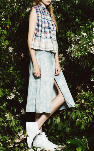Japanese Hand Bleached Plaid Sleeveless Top by SEA for Preorder on Moda Operandi
