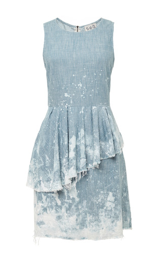Medium sea white japanese railroad denim tank dress