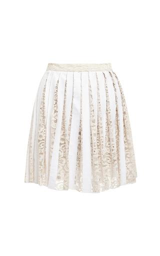 Medium sea white floral lace laminated pleated skirt