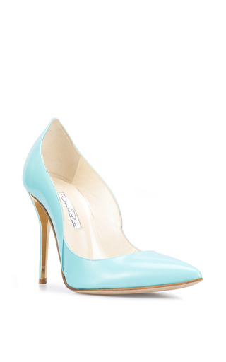 Sabrina Patent Leather Pump In Aqua by OSCAR DE LA RENTA for Preorder on Moda Operandi