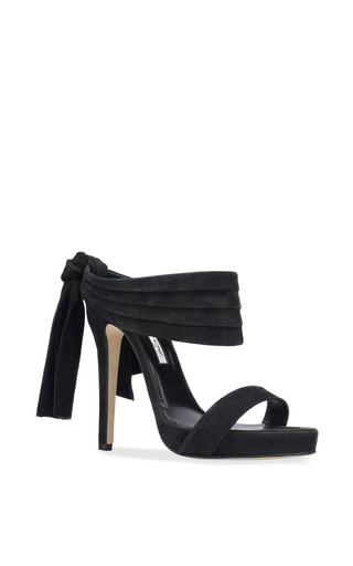 Sandy Platform Sandal In Black Suede And Satin by OSCAR DE LA RENTA for Preorder on Moda Operandi