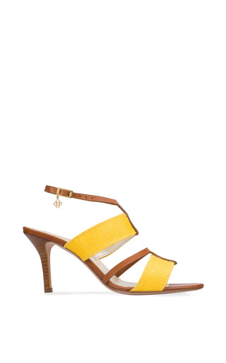 Medium oscar de la renta yellow briani leather sandal in lemon 85mm