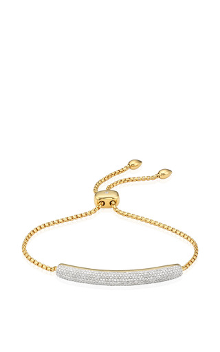Medium monica vinader gold esencia diamond pave full chain bracelet in yellow gold