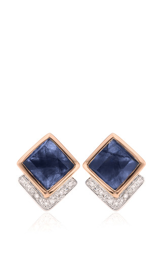 Medium monica vinader blue baja precious earrings in blue sapphire and diamond
