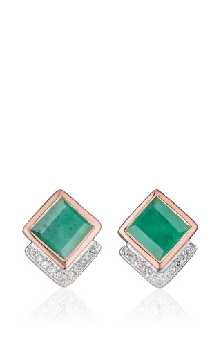 Medium monica vinader green baja precious earrings in emerald and diamond with rose gold