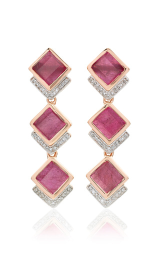 Medium monica vinader red baja precious cocktail earrings in ruby and diamond