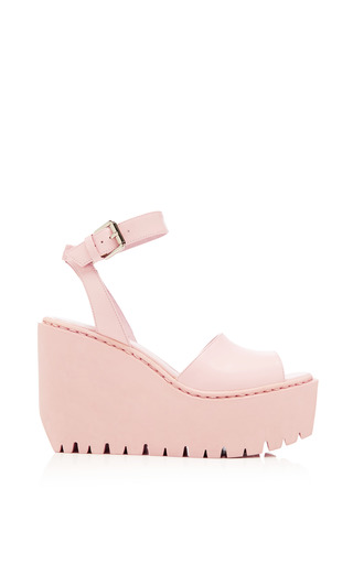 Medium opening ceremony pink grunge wedge sandal in blush pink