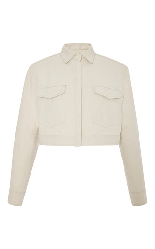 Medium rosie assoulin white hemp canvas cropped jacket