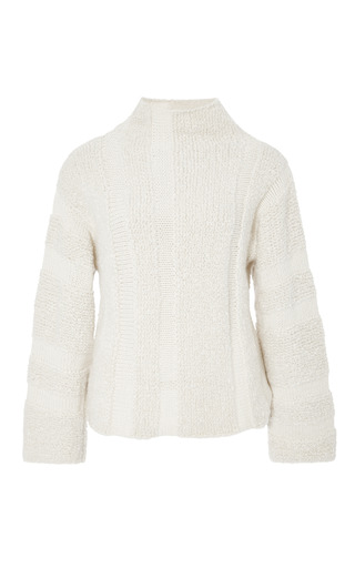 Medium rosie assoulin white shearling stitch hand knit sweater in natural