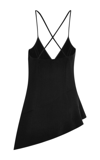 Black Crepe Asymmetric Tank Top by ROSIE ASSOULIN for Preorder on Moda Operandi