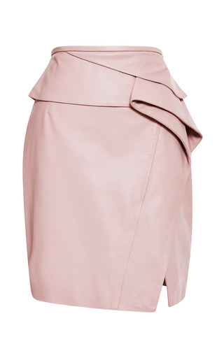 Medium elie saab pink blush peplum leather skirt