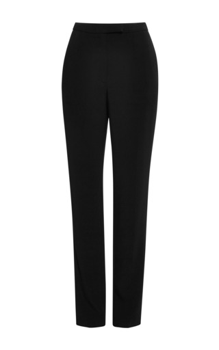 Elie Saab Black Stretch Cady Slim Pant by ELIE SAAB for Preorder on Moda Operandi