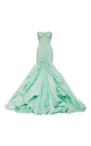 Medium zac posen blue honeydew tafetta gown