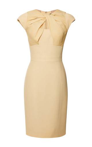 Medium elie saab yellow iris crepe cady knot dress