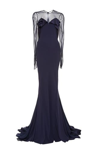 Medium zac posen blue navy satin back crepe gown