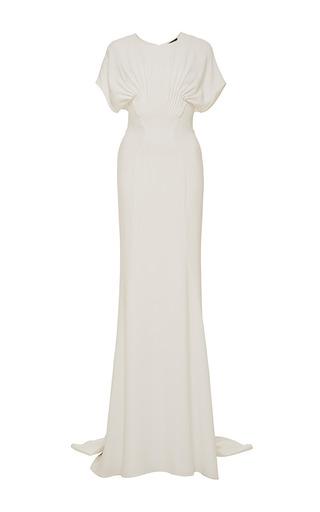 Medium zac posen white magnolia satin back crepe gown