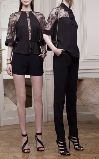 Black Lace Sleeve Tunic by ELIE SAAB for Preorder on Moda Operandi