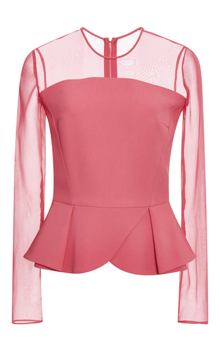 Elie Saab Begonia Long Sleeve Peplum Top by ELIE SAAB for Preorder on Moda Operandi