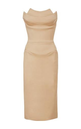 Medium zac posen nude nude stretch duchess dress