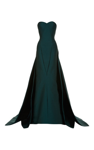 Medium zac posen green dark emerald stretch duchess gown