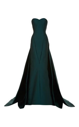 Medium zac posen green dark emerald stretch duchess gown