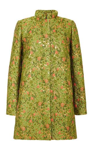 Medium zac posen green wisley jacquard coat