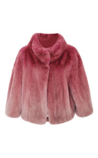 Medium elie saab pink begonia ombre mink cape jacket