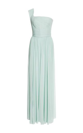 Medium elie saab light green mint one shoulder silk georgette gown