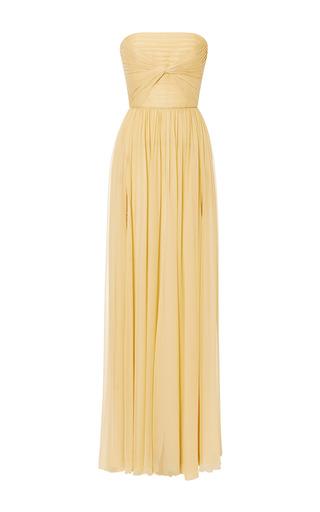Medium elie saab yellow iris silk georgette knot motif gown