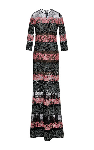 Black And Blush Lace Stripe Long Sleeve Gown by ELIE SAAB for Preorder on Moda Operandi