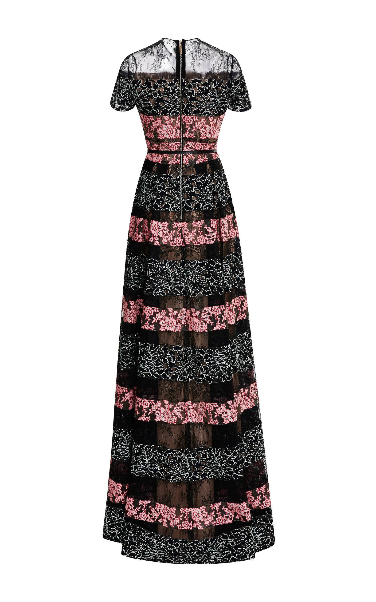 Black And Blush Lace Stripe Gown