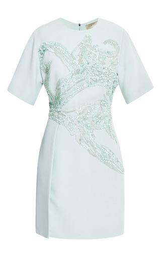 Medium elie saab light green mint embroidered short sleeve dress