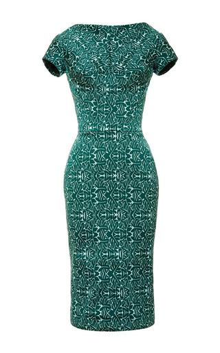 Medium zac posen blue dark ivy oak jaquard stretch dress