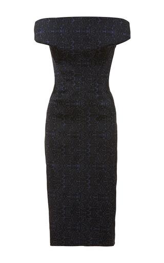 Medium zac posen navy dark midnight oak jacquard dress