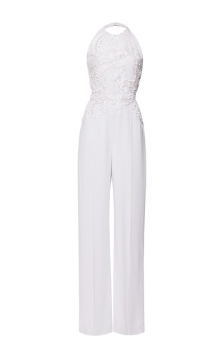 Jasmine Embroidered Halter Jumpsuit by ELIE SAAB for Preorder on Moda Operandi