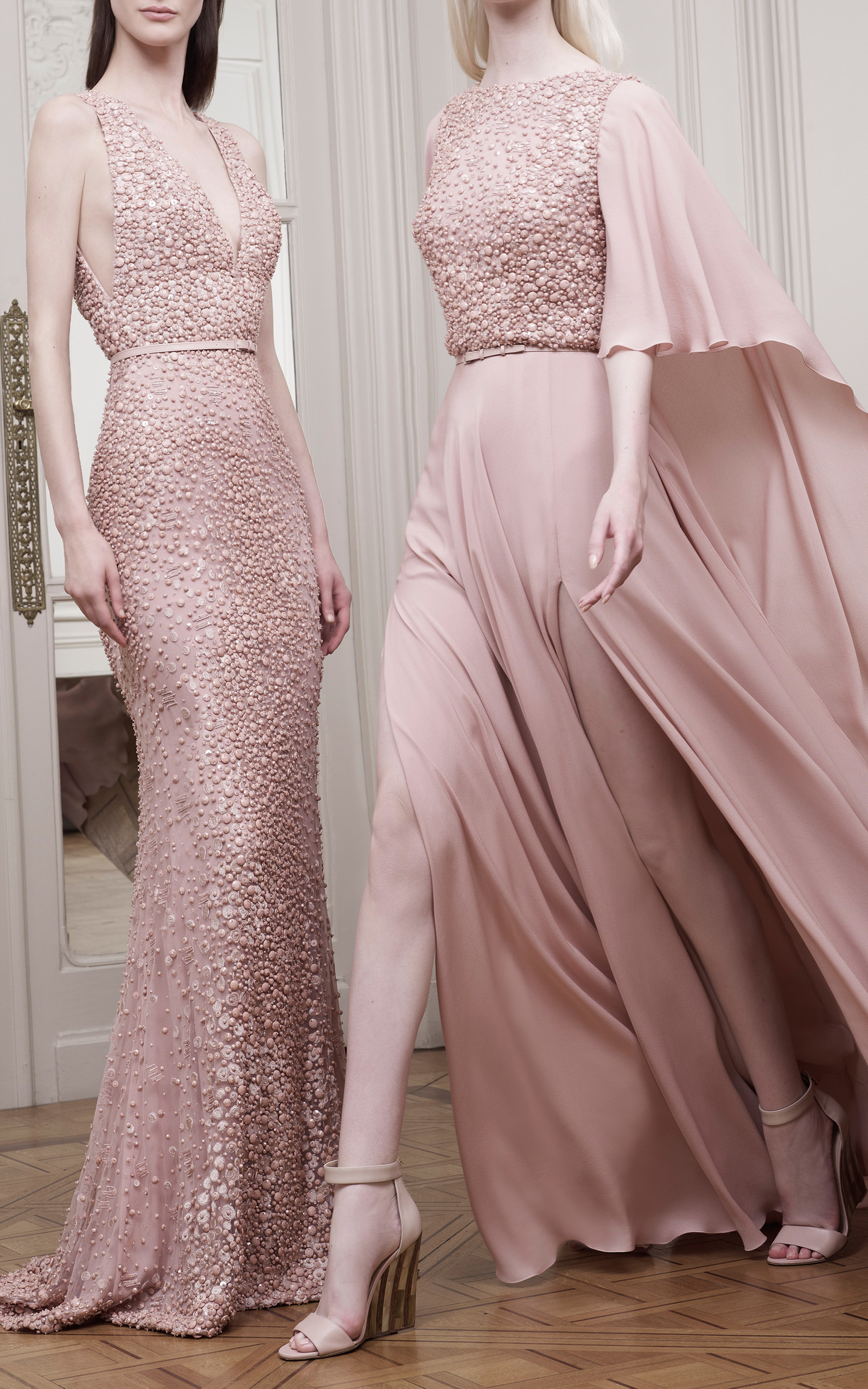 Blush v neck embroidered gown by elie saab moda operandi for Elie saab blush wedding dress