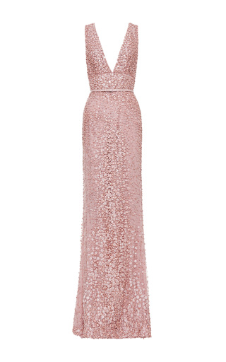 Blush V Neck Embroidered Gown by ELIE SAAB Now Available on Moda Operandi