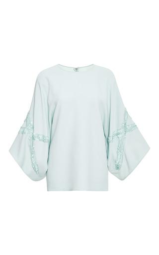 Medium elie saab light green mint embroidered wide sleeve top