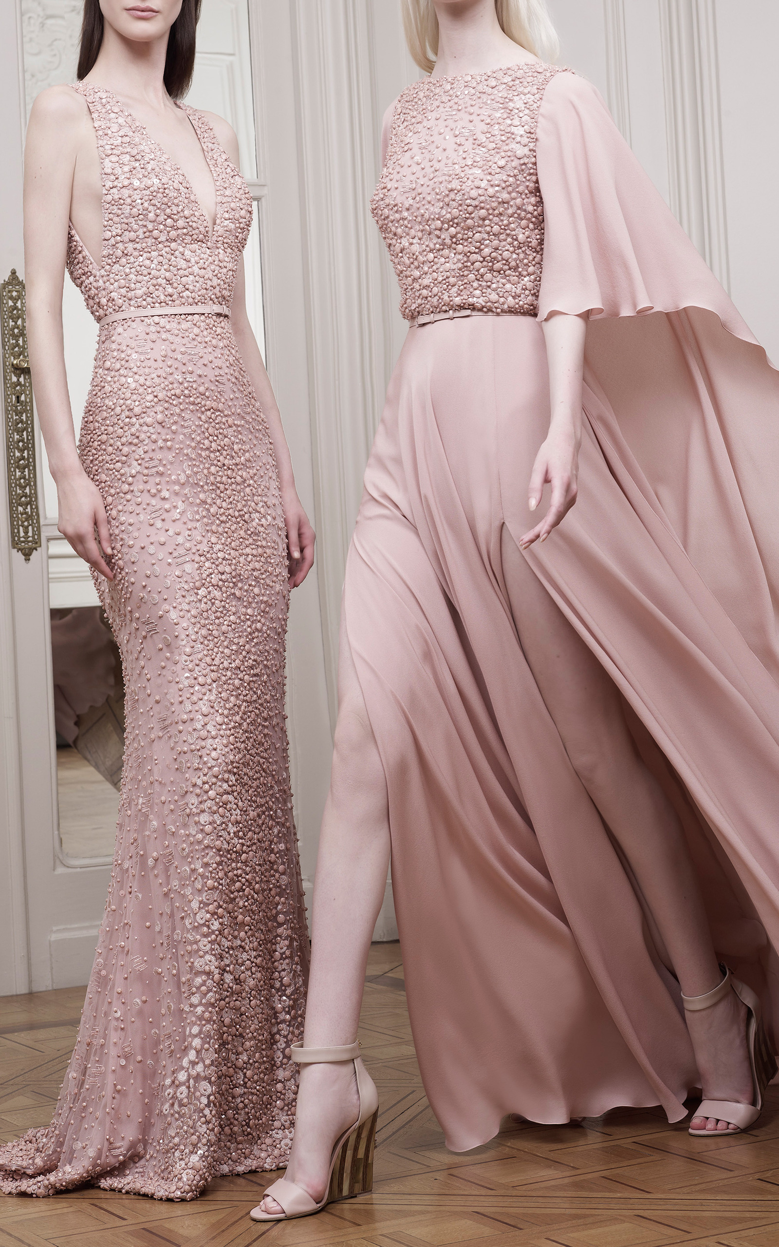 Blush embroidered cape sleeve gown by elie saab moda - Color rosa palo ...