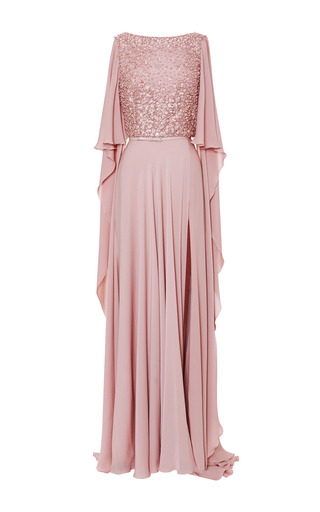 Blush Embroidered Cape Sleeve Gown by ELIE SAAB for Preorder on Moda Operandi