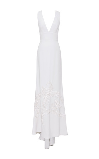 Medium elie saab white jasmine embroidered v neck gown
