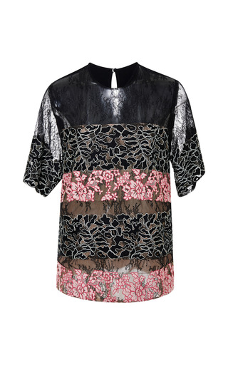 Black And Blush Lace Stripe Top by ELIE SAAB for Preorder on Moda Operandi