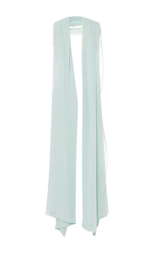 Mint Silk Georgette Scarf by ELIE SAAB for Preorder on Moda Operandi