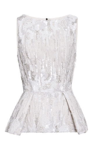 Jasmine Embroidered Peplum Top by ELIE SAAB for Preorder on Moda Operandi