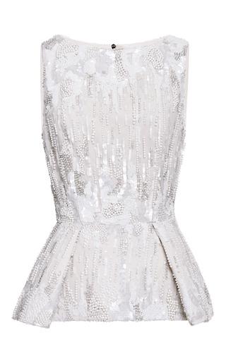 Medium elie saab white jasmine embroidered peplum top