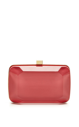 Medium elie saab pink begonia small stone shaped plexi clutch