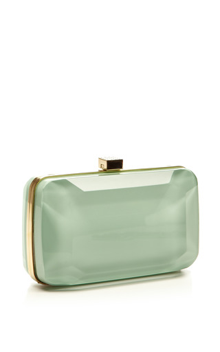 Mint Small Stone Shaped Plexi Clutch by ELIE SAAB for Preorder on Moda Operandi