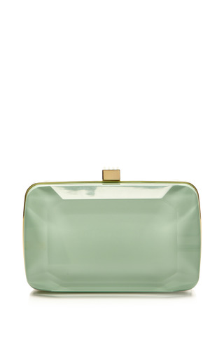 Medium elie saab light green mint small stone shaped plexi clutch